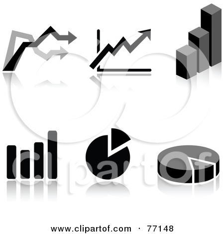 Digital Collage Of Black And White Arrow Pie And Bar Graph Icons With