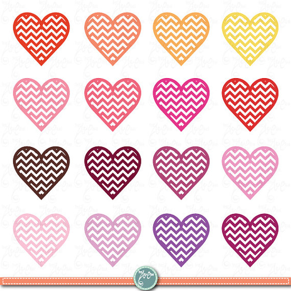 Digital Love Clipartweddinglovechevron Heartsvalentine S Dayclip
