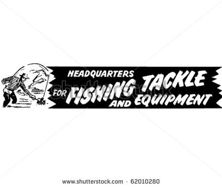 For Fishing Tackle   Ad Banner   Retro Clipart   Stock Vector