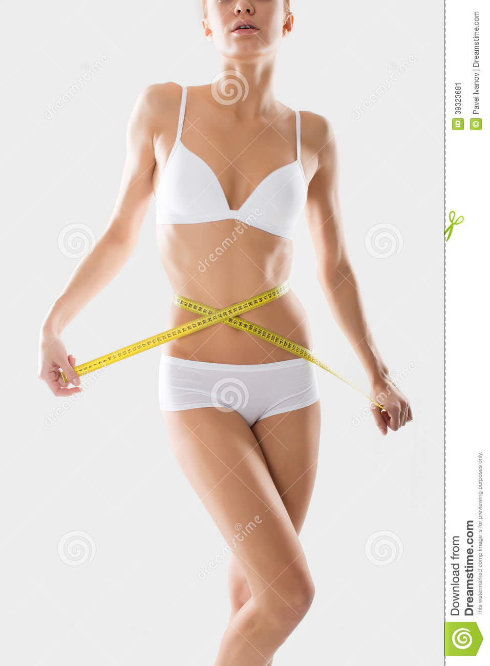 Girl Underwear Engaged In Measurement Figures Stock Photo   Image
