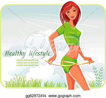Girl With Tape Measure Wrapped Around Her Body  Eps Clipart Gg62972414