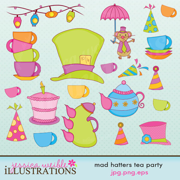 Mad Hatter S Tea Party Cute Digital Clipart By Jwillustrations