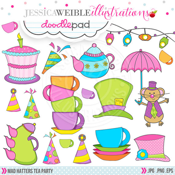 Mad Hatter S Tea Party Cute Digital Clipart   Commercial Use Ok   Tea