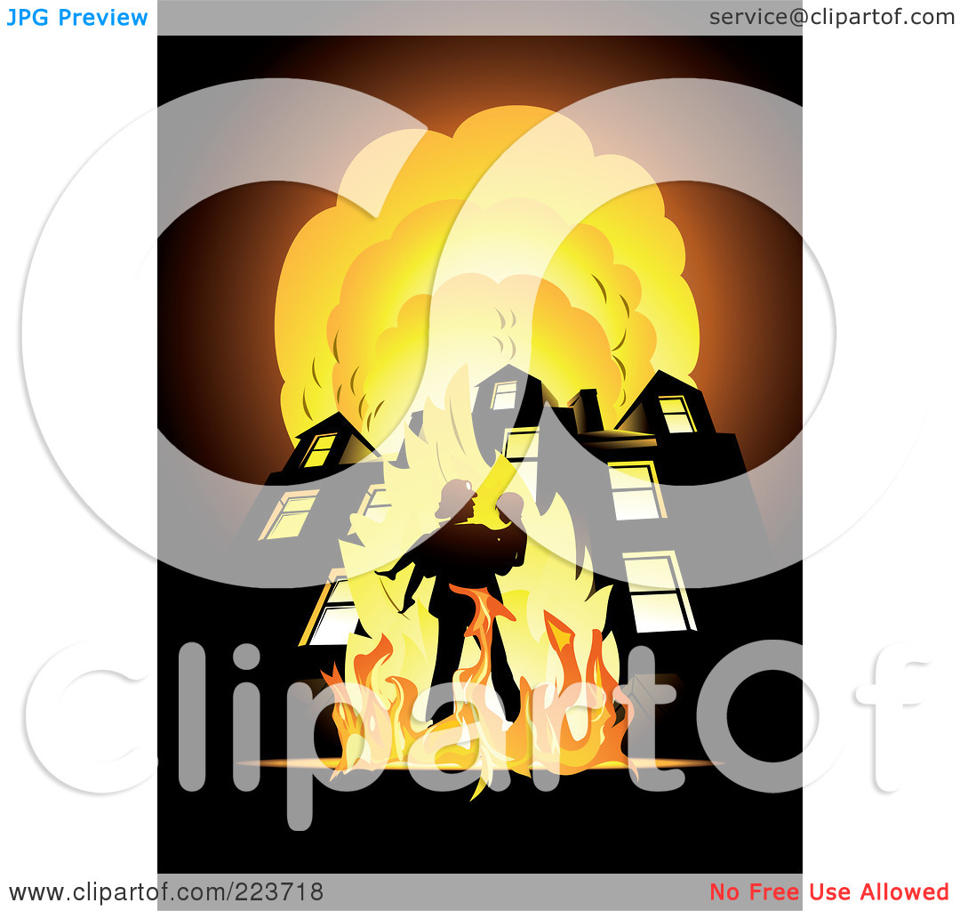 Royalty Free  Rf  Clipart Illustration Of A Fireman Carrying A Child