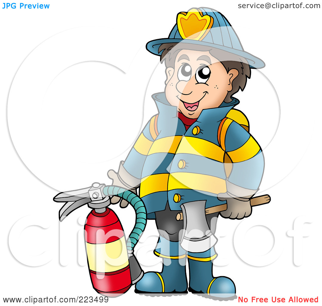 Royalty Free  Rf  Clipart Illustration Of A Fireman Holding An