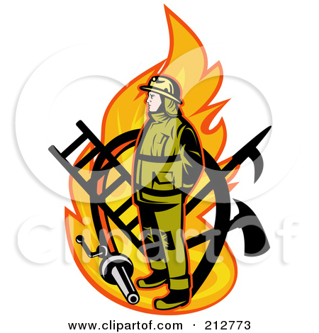 Royalty Free  Rf  Clipart Illustration Of A Flame And Fireman Logo By