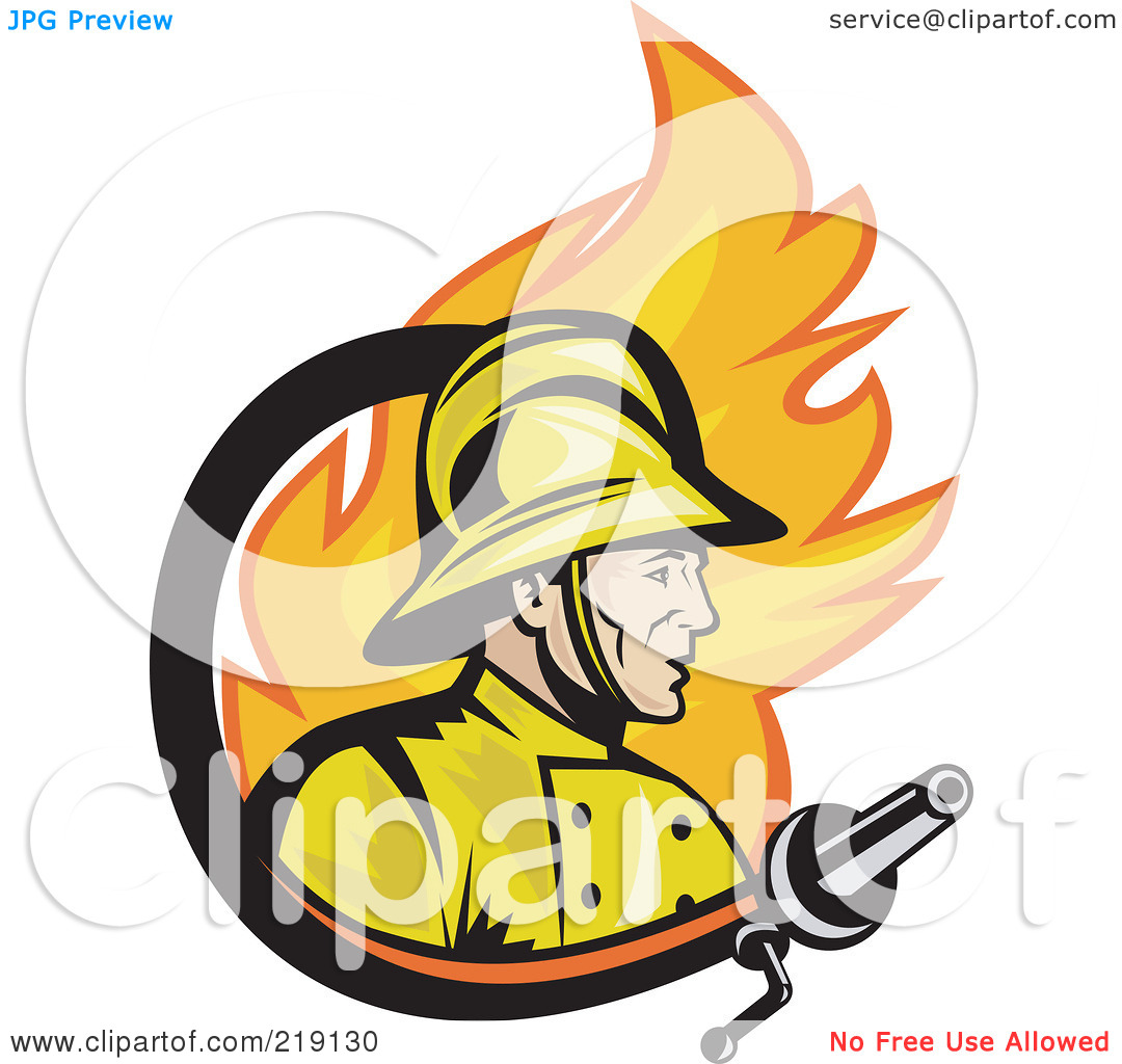 Royalty Free  Rf  Clipart Illustration Of A Retro Fireman Fire And