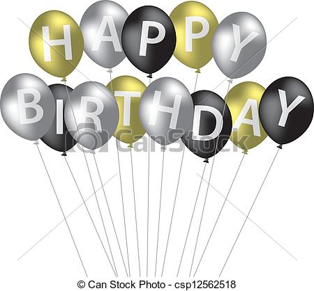 Vector Clip Art Of Happy Birthday   Silver Gold And Black Balloon