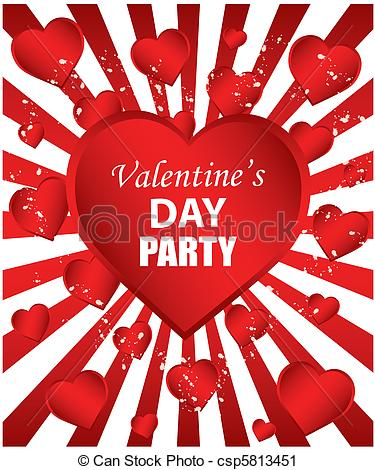 Vector Clip Art Of Valentines Day Party   Red Background Csp5813451