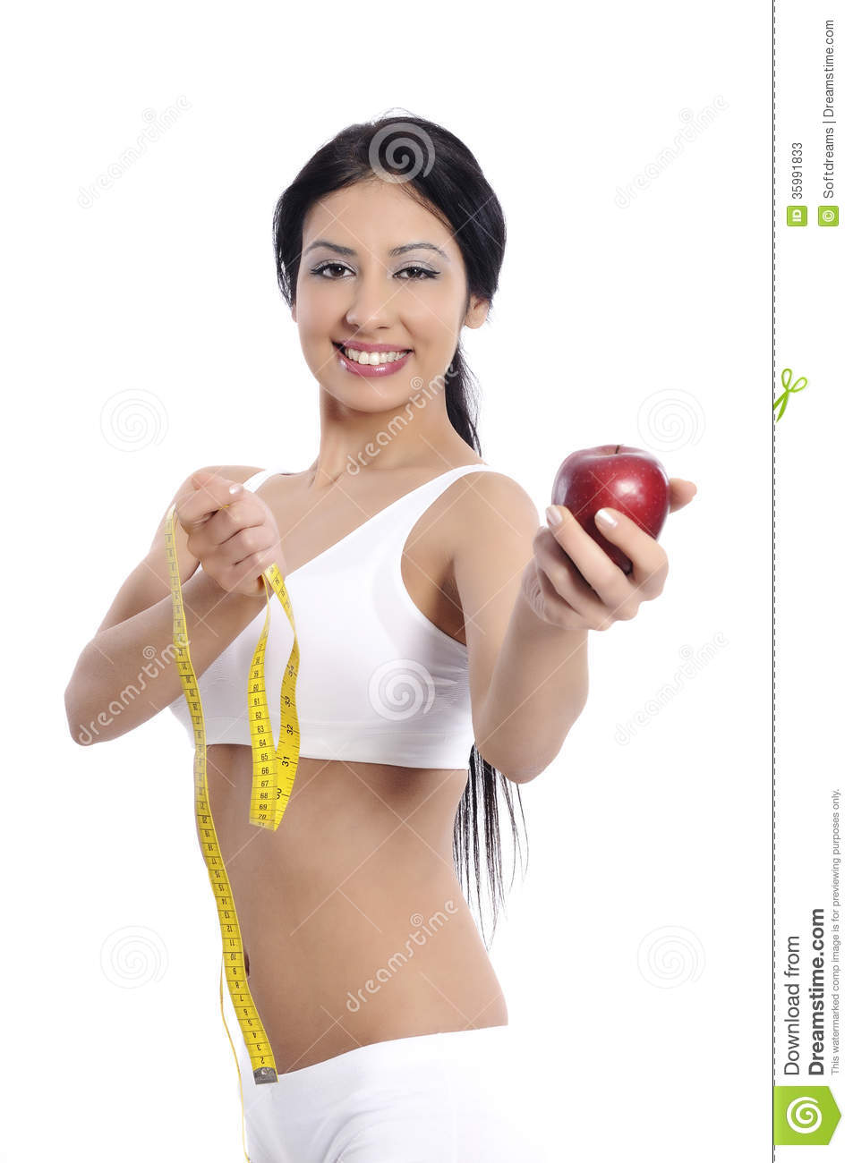 Young Woman Measuring Her Breast With A Measuring Tape Stock Photos