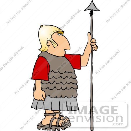 14446 Roman Soldier In Golden Helmet Holding A Spear Clipart By Djart