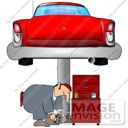 41349 Clip Art Graphic Of A Man Bending Over While Working Under A Car