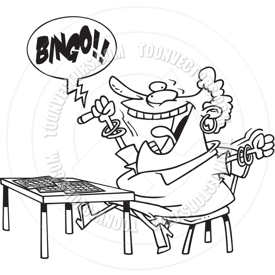 Black And White Bingo Clipart Cartoon Bingo  Black And White