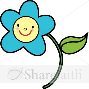 Blue Flower With Yellow Smiley Face   Religious Baby Clipart