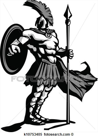 Body With Spear And Shield Vector Illustration View Large Clip Art