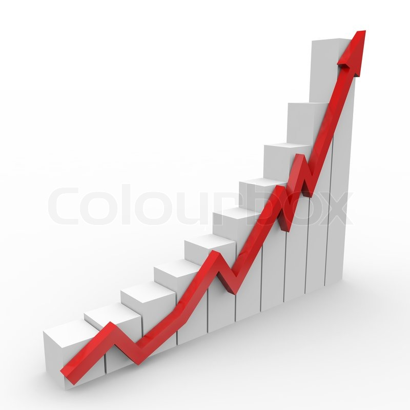 Business Graph With Going Up Red Arrow   Stock Photo   Colourbox