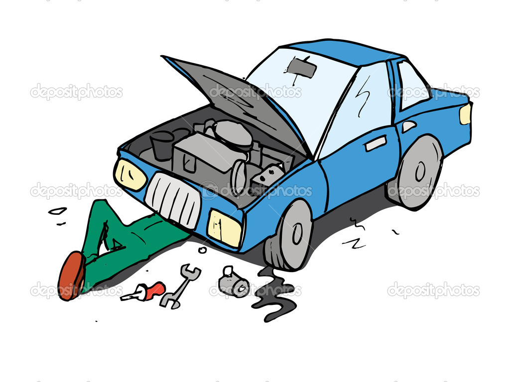 Cartoon Of Mechanic Working On A Car   Stock Vector   Antonbrand