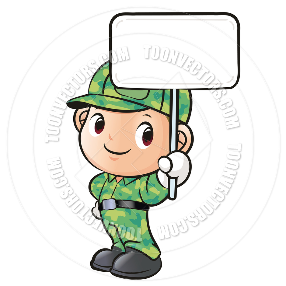 Cartoon Soldier Holding A Sign By Boians Cho Joo Young   Toon Vectors
