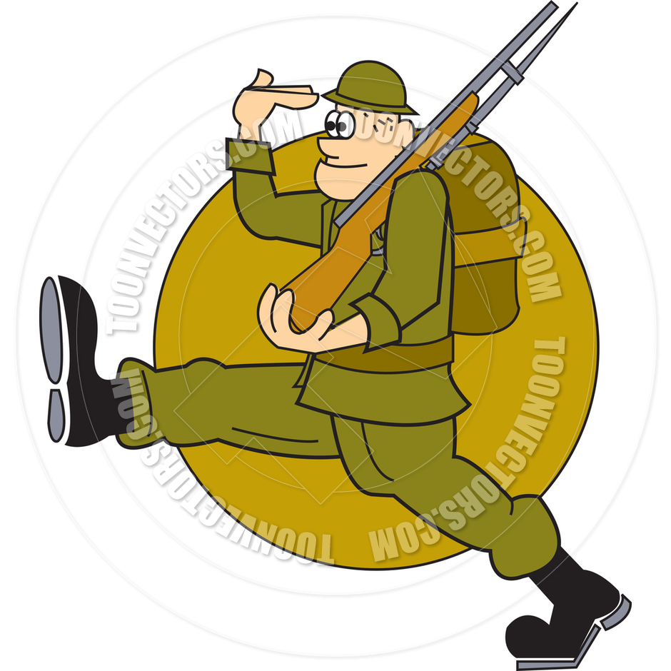 Cartoon Soldier Marching Vector Illustration By Clip Art Guy   Toon