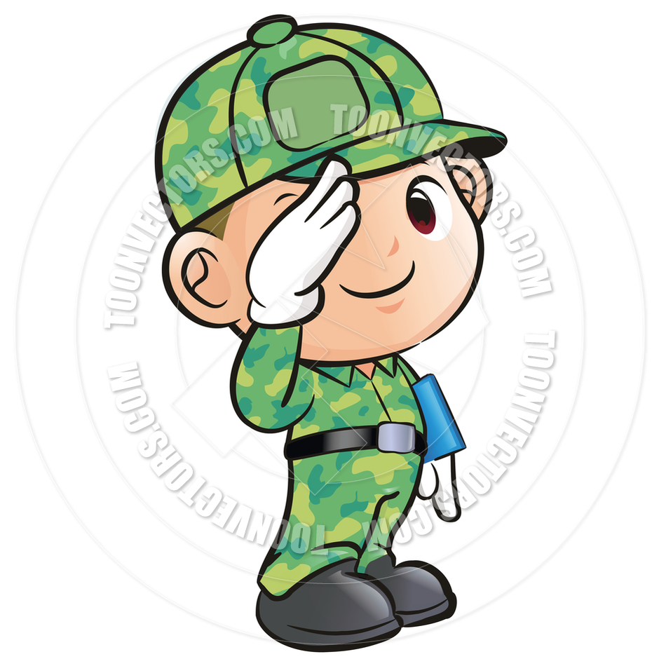 Cartoon Soldier Salute By Boians Cho Joo Young   Toon Vectors Eps