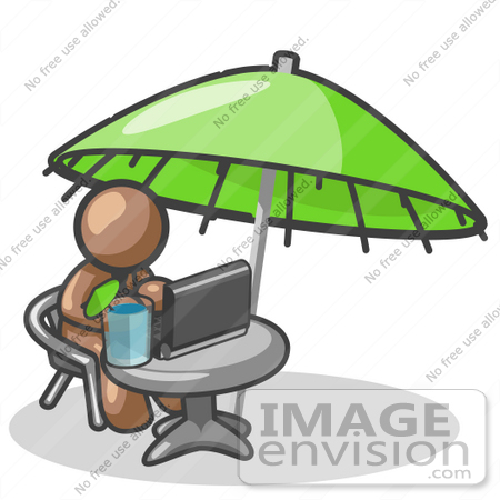 Clip Art Graphic Of A Brown Guy Character Working Under An Umbrella
