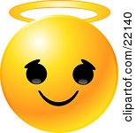 Clipart Illustration Of A Yellow Emoticon Face With An Innocent