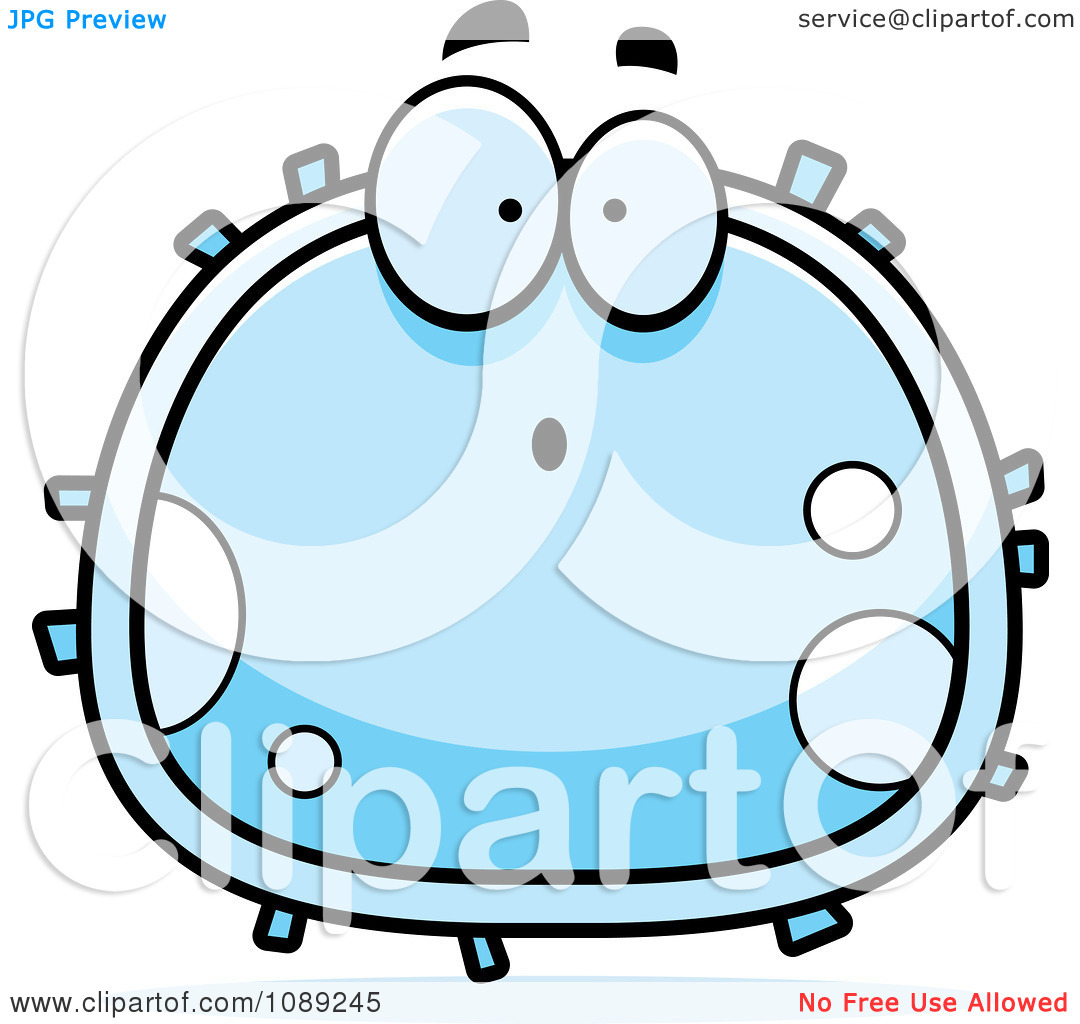 Clipart Surprised White Blood Cell   Royalty Free Vector Illustration