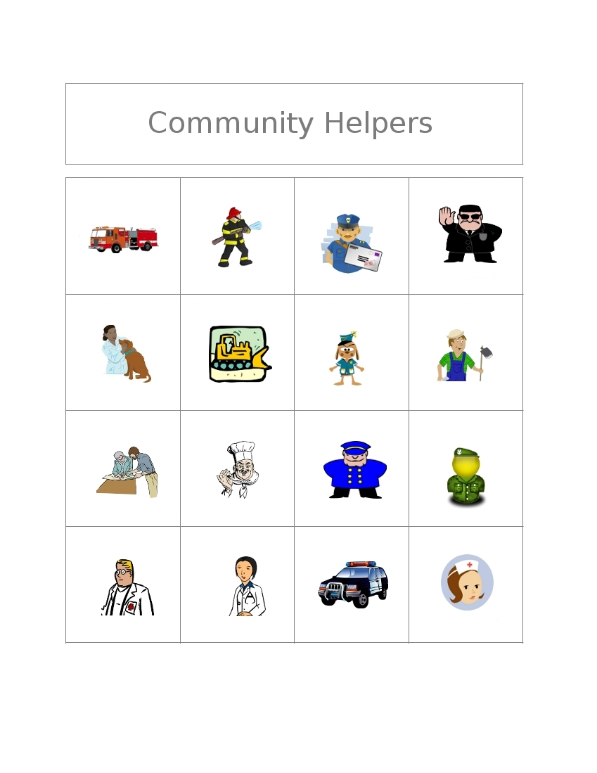 Community Helpers Clipart Black And White Free Bingo Game  Community