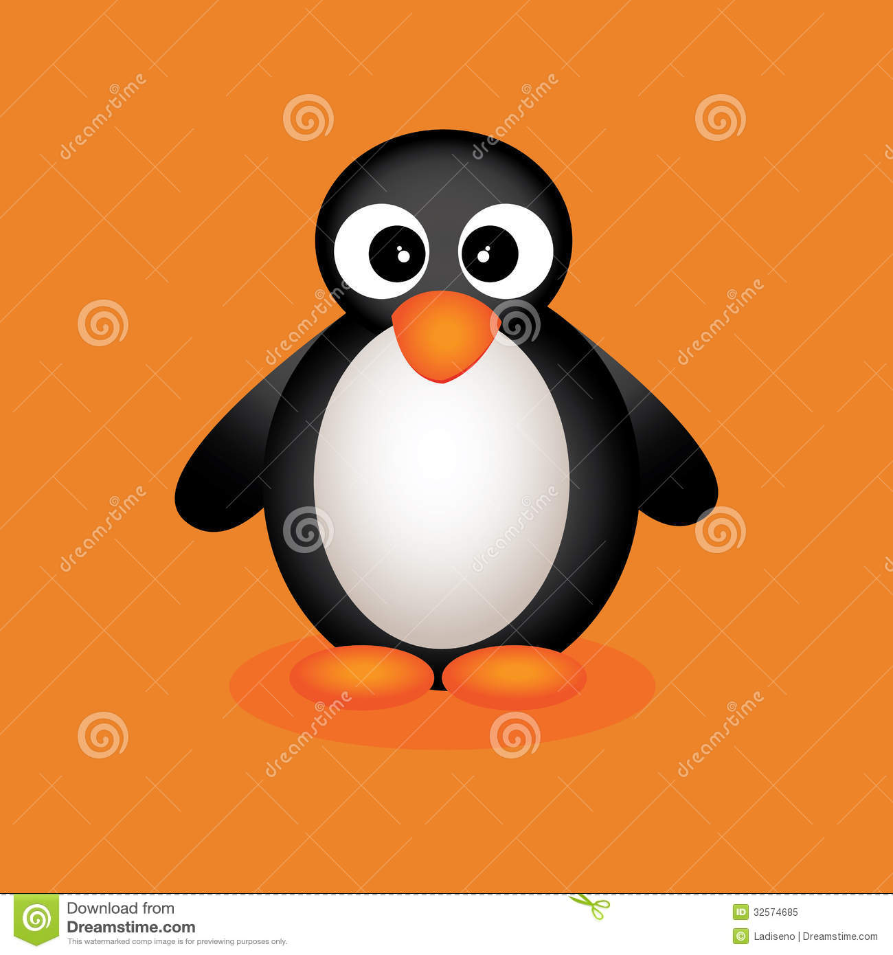 Cute Penguin On Orange Background With Shadow Effect Mr No Pr No 0 169