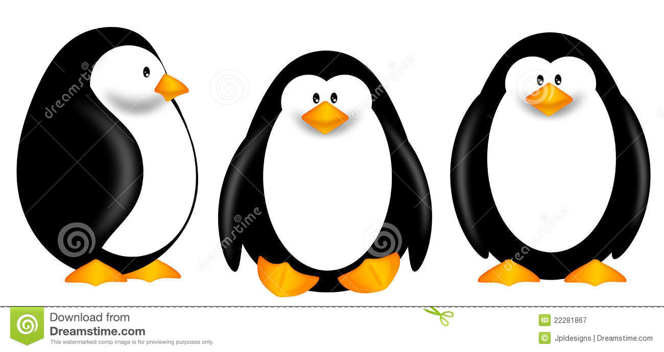 Cute Penguins Clipart Isolated On White Background Royalty Free Stock