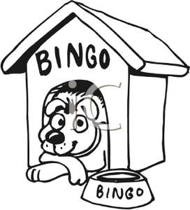 Dog Named Bingo Lying In His Dog House   Royalty Free Clipart Picture