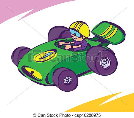 Green Car   Guy Driving A Green Race Car Csp10288975   Search Clipart