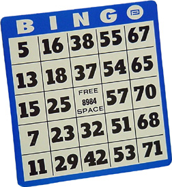 Heavy Duty Bingo Card Are 5 8 High  They Are Black Against A White
