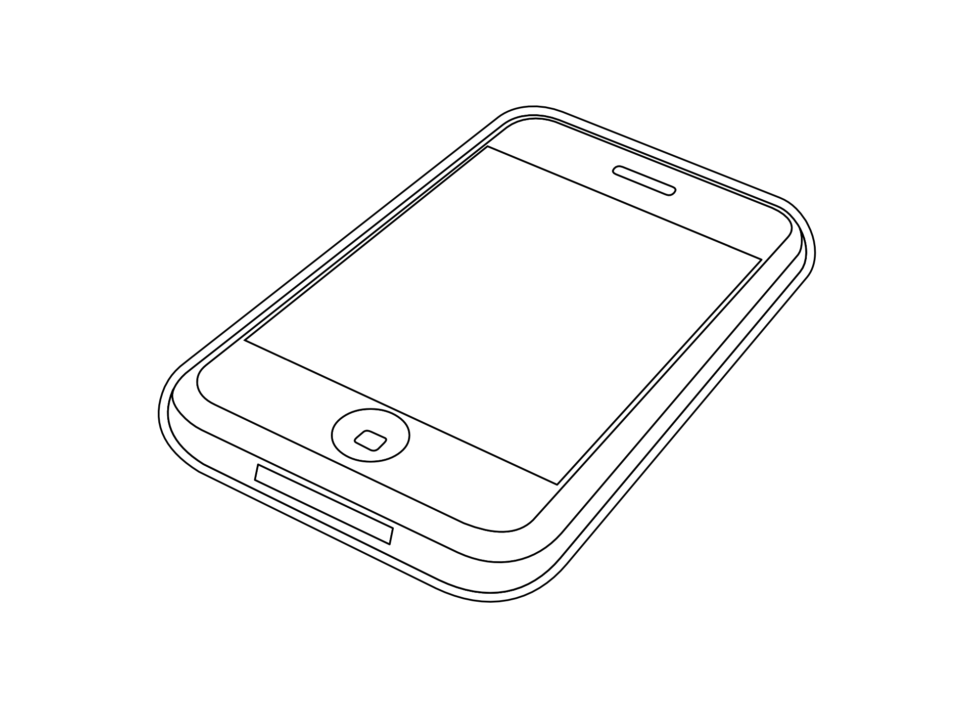 iphone 3gs black white line art scalable vector graphics