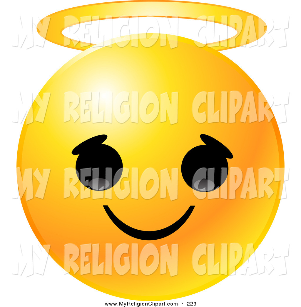 Larger Preview  Religion Clip Art Of A Round Yellow Emoticon Face With