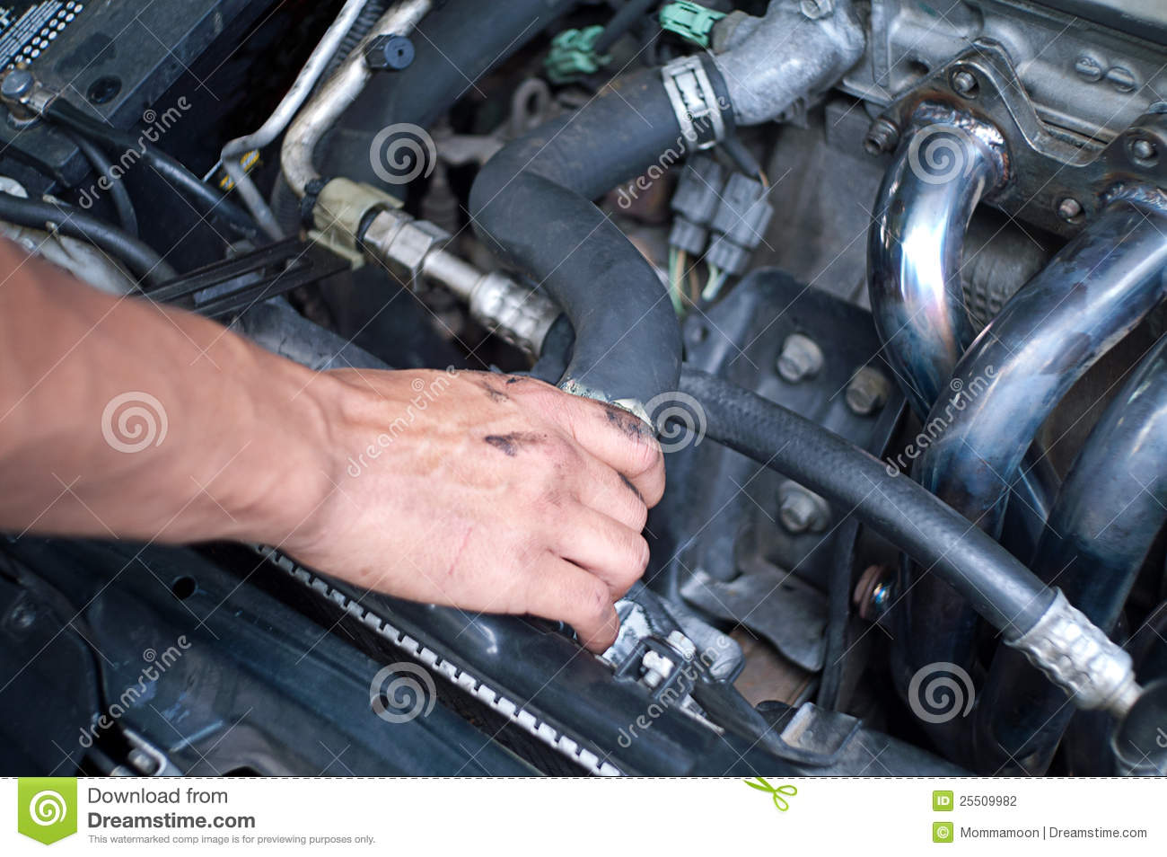 Man S Greese Stained Hand As He Iw Working Under The Hood Of A Car
