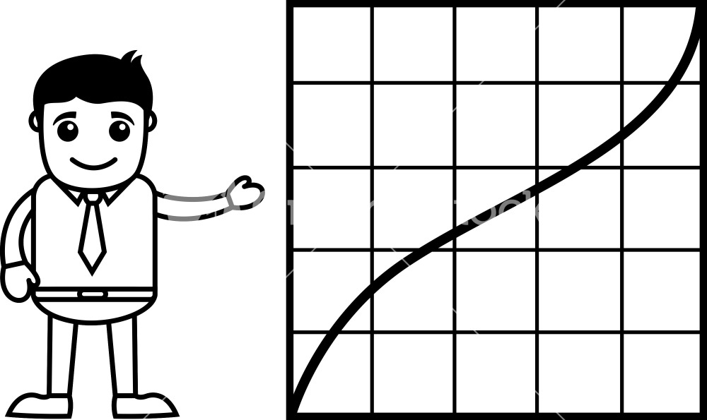 Man Showing Increasing Graph Line   Business Cartoon Character