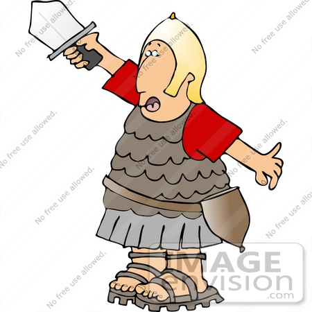 Roman Soldier In Uniform Holding Up A Sword Clipart    14431 By Djart