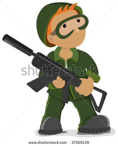 Soldier Holding The Airsoft Gun  Vector Image   Stock Vector