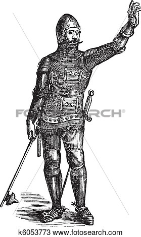 Soldier In Armor In 1370 Old Engraving  Fotosearch   Search Clip Art