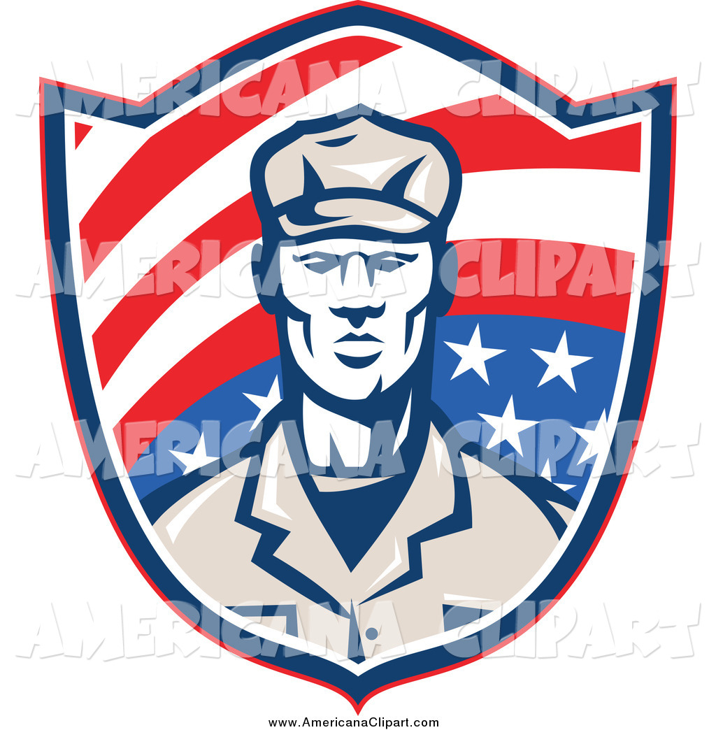 Vector Clip Art Of A Retro American Soldier In A Shield By Patrimonio