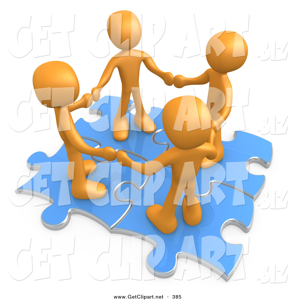 3d Clip Art Of A Group Of Four Orange People Holding Hands While