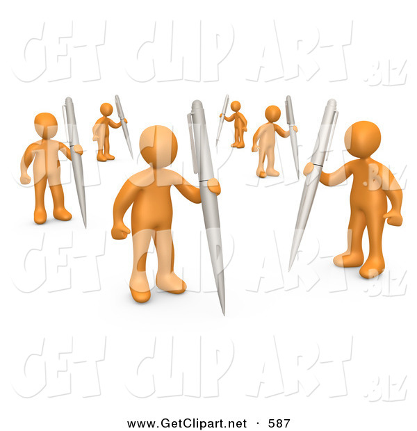 3d Clip Art Of A Group Of Many Orange People Holding Their Own Pens As