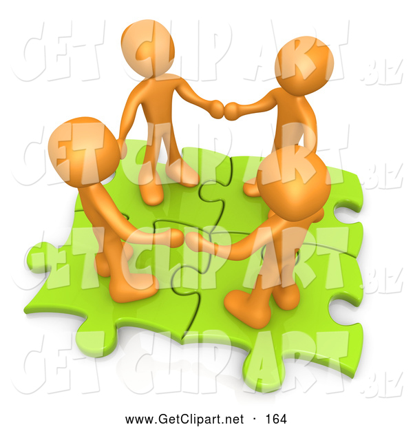 Clip Art Of A 3d Orange People Holding Hands On Green Puzzle Pieces By