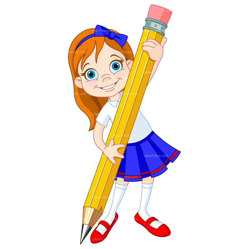 Clipart Girl With Giant Pen   Royalty Free Vector Design