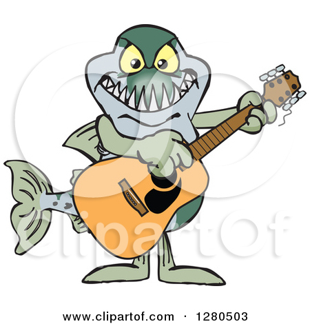 Clipart Of A Barracuda Fish Musician Playing A Guitar   Royalty Free