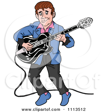 Clipart Retro Rockabilly Musician Man Playing A Guitar   Royalty Free
