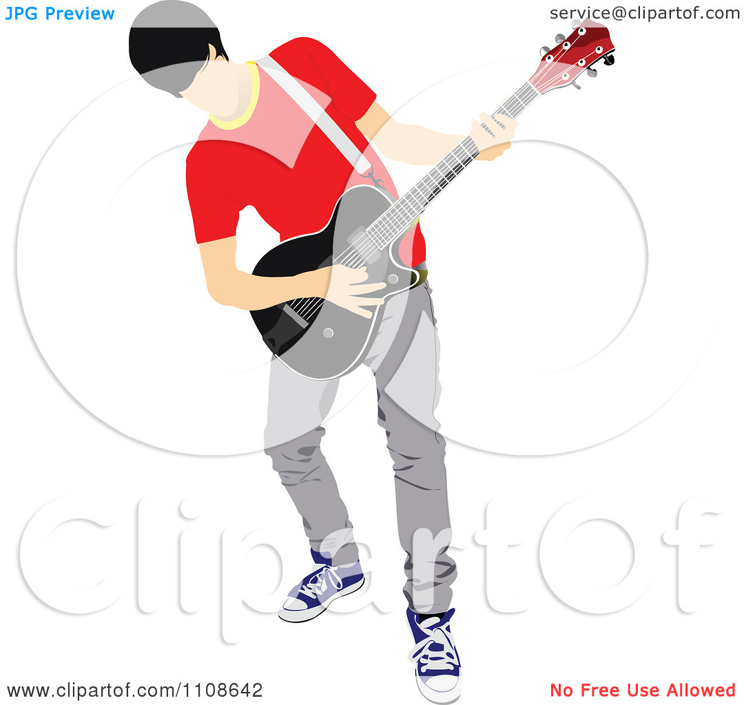 Clipart Rock Musician Man Playing An Electric Guitar 2   Royalty Free