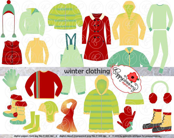 Clothing Clipart Set  Digital Scrapbook Clip Art Pack  300 Dpi  Coat