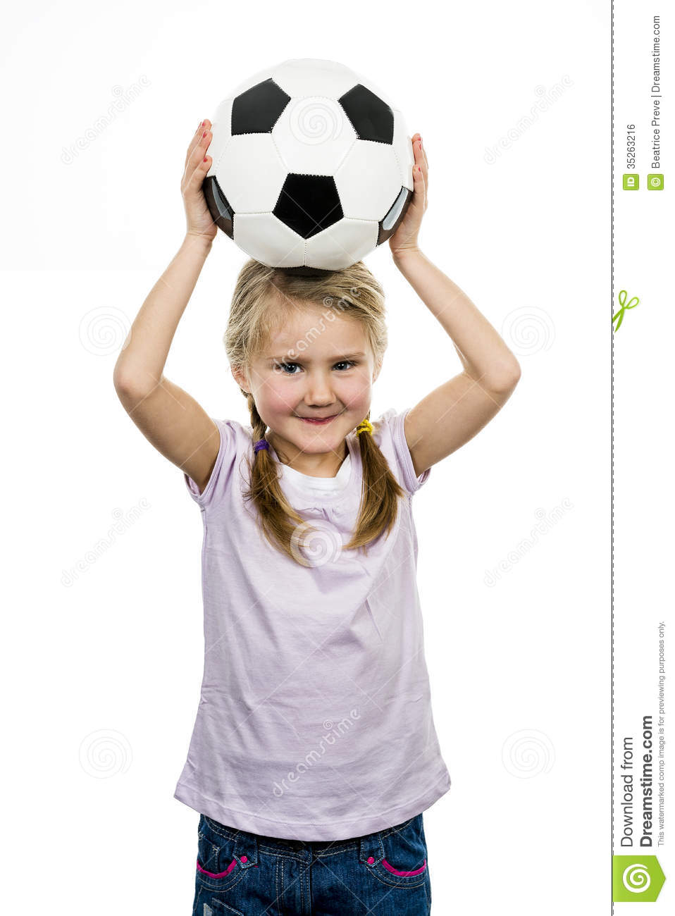 Cute Girl Playing Football Happy Child Young Female Goalkeeper